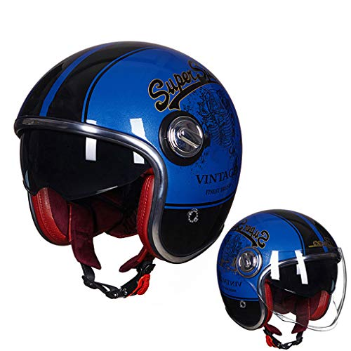 ZHEN Harley helm, Adult Open-Face 3/4 Motorbike bromfiets, Cruise demi-jet Helm voor Motorcycles Scooters elektrische voertuigen, Retro helm vier seizoenen
