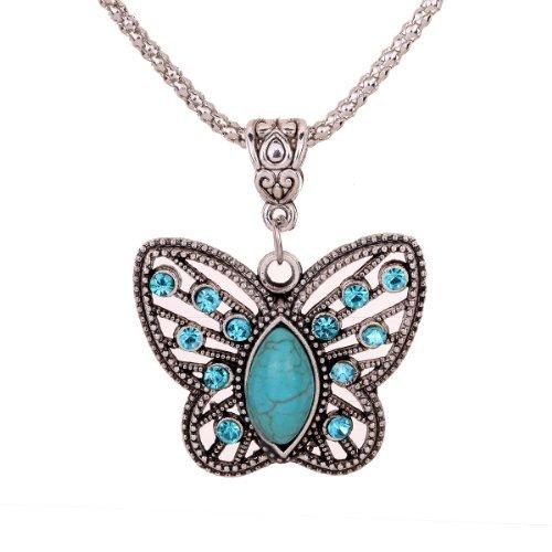 Yazilind Schmuck-Geschenk Antike Hohl tibetischen Silber Schmetterling Kristall Anhanger Kette Halskette Kleidung Brand Name