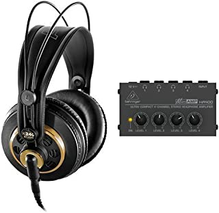 AKG K 240 Studio Pro Semi-Open Stereo Headphones with Behringer MicroAMP HA-400 Headphone Amp Bundle