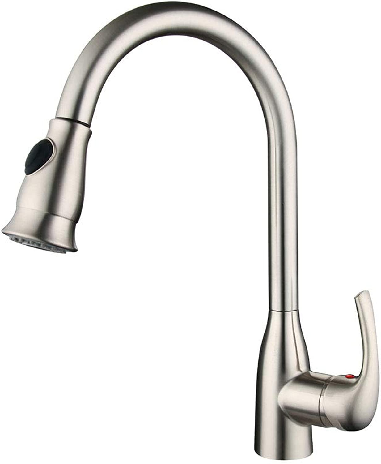 Pull Out Kitchen Faucet Single Handle Bathroom Kitchen Hot and Cold Water Taps Deck Mounted Luxury Chrome Brass Single Handle High Arc Kitchen Sink