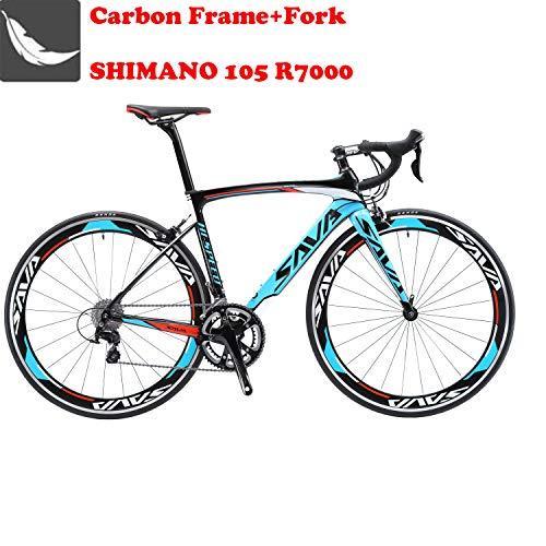 SAVA Bicicleta de Carretera de Carbono, Bicicleta de Carretera Warwinds5.0 700C de Fibra de Carbono con Sistema de Cambio SHIMANO 105 R7000 22-Velocidad,Neumáticos Continental Ultra Sport II 25C y doble freno en V