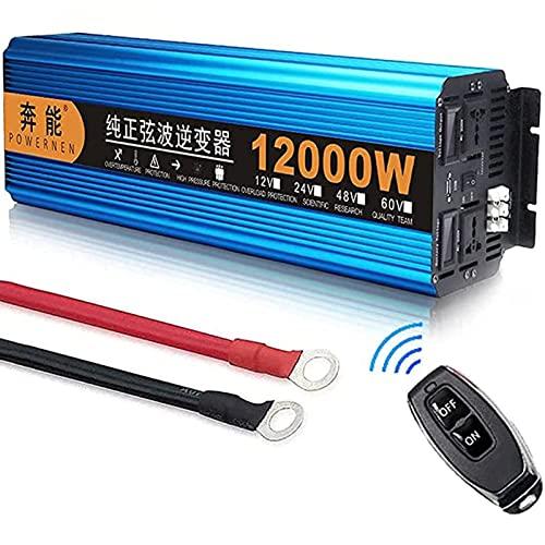 YNIXK 3000W 4500W 6000W 8000W 12000Winversor de Onda sinusoidal Pura inversores solares DC 12V / 24V a AC 220V convertidor de energía con Puerto USB, Suitable for Outdoor Camping,12V-12000W