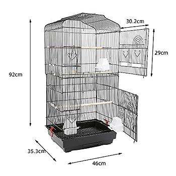 MUPAI Cage Oiseaux Volière Portable avec 3 Poteaux en Bois, 4 Gobelets en Plastique pour Perruche Calopsitte Conure Pinson Canaris