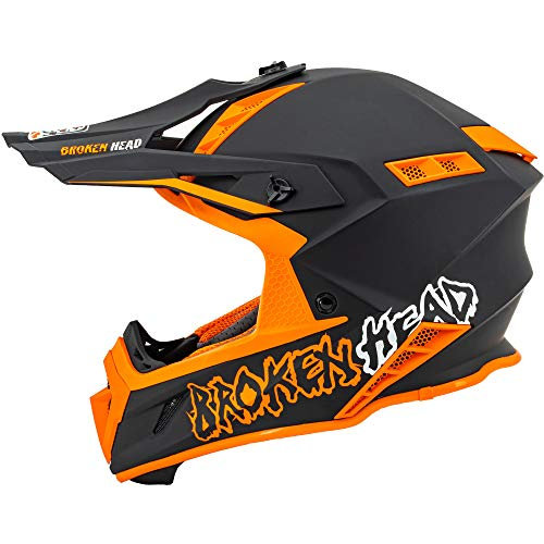 Broken Head The Hunter - Ultra leichter Motocross & Enduro Helm für Profis - Light Orange - Größe S (55-56 cm)