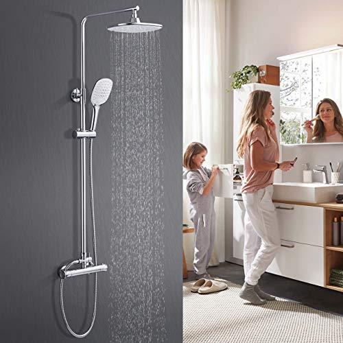 WOOHSE Duschsystem mit Thermostat Höhenverstellbar Duscharmatur Set Regendusche mit Wandhalterung, Anti-Verbrühungs-Duschsystem Handbrause mit 3 Strahlarten für Badzimmer