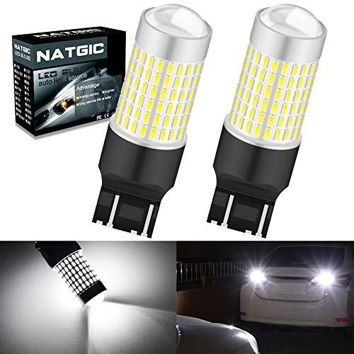 NATGIC 7443 7440 T20 W21/5W Bombillas LED Xenon White 3000LM 3014SMD Chipsets 144-EX con proyector de lentes para respaldar luces de cola de freno reversas, 12-24V (2-Pack)