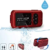 IP68 Waterproof MP3 Player for Swimming, SUNNZO 8GB Swimming Bluetooth MP3 with Screen, FM Radio, Rotatable Clip, Earphone, Pedometer, Over 10 Hours Playback, Underwater 3 Meter