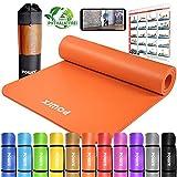 POWRX Tapis de Yoga Anti-DÉRAPANT sans phtalates/Tapis de Sol – Gymnastique – Pilates / 190 x 60, 80 ou 100 x 1,5 cm I Sangle de Transport + Sac + Poster d´entraînement (Orange, 190 x 80 x 1,5 cm)