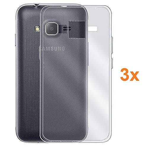 REY Pack 3X Cover in Gel TPU Trasparente per Samsung Galaxy J1 Mini, Ultra Sottile 0,33 mm, Morbido Flessibile, Custodia Silicone