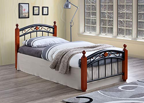 Better Home Products Lexus Metal Platform Bed with Headboard & Footboard/Metal Slat/No Box Spring Needed/Brown (Twin)