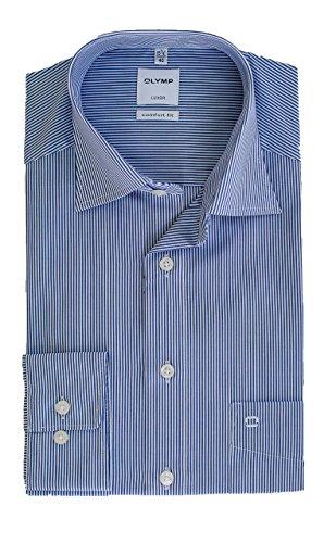 OLYMP Hemd Luxor, Zündholzstreifen Blau Weiß gestreift, Comfort Fit, Bügelfrei, Knitterfrei, 100% Baumwolle, New Kent Kragen (42)