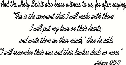 Hebrews 10:15-17 Wall Art, The Holy Spirit Also Bears Witness Saying, Covenant, I Will Put My Laws on Their Hearts, Write Them on Their Minds, I Will Remember Their Lawless Deeds No More