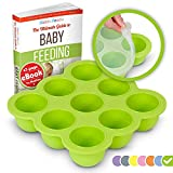 KIDDO FEEDO Baby Food Preparation & Storage Container Tray with Silicone Clip-On Lid - 9 x 2.6oz Easy-out Pods - BPA Free & FDA Approved - FREE eBook by Author/Dietitian - Green