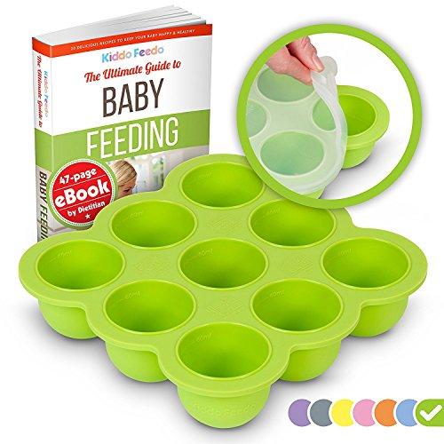 KIDDO FEEDO Silikon Babynahrung Aufbewahrung Behälter Zum Einfrieren Babybrei mit Silikondeckel - BPA-frei - 9 x 75ml - Gratis eBook mit Rezepten und Ernährungstipps - Grün