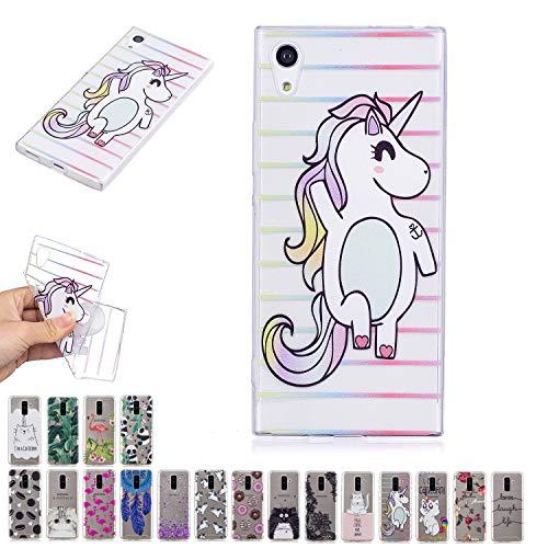 E-Mandala Funda Sony Xperia L1 Unicornio Gato Carcasa Transparente con Dibujos Case Cover Silicona Gel TPU Goma Bumper Ultra Fina Slim