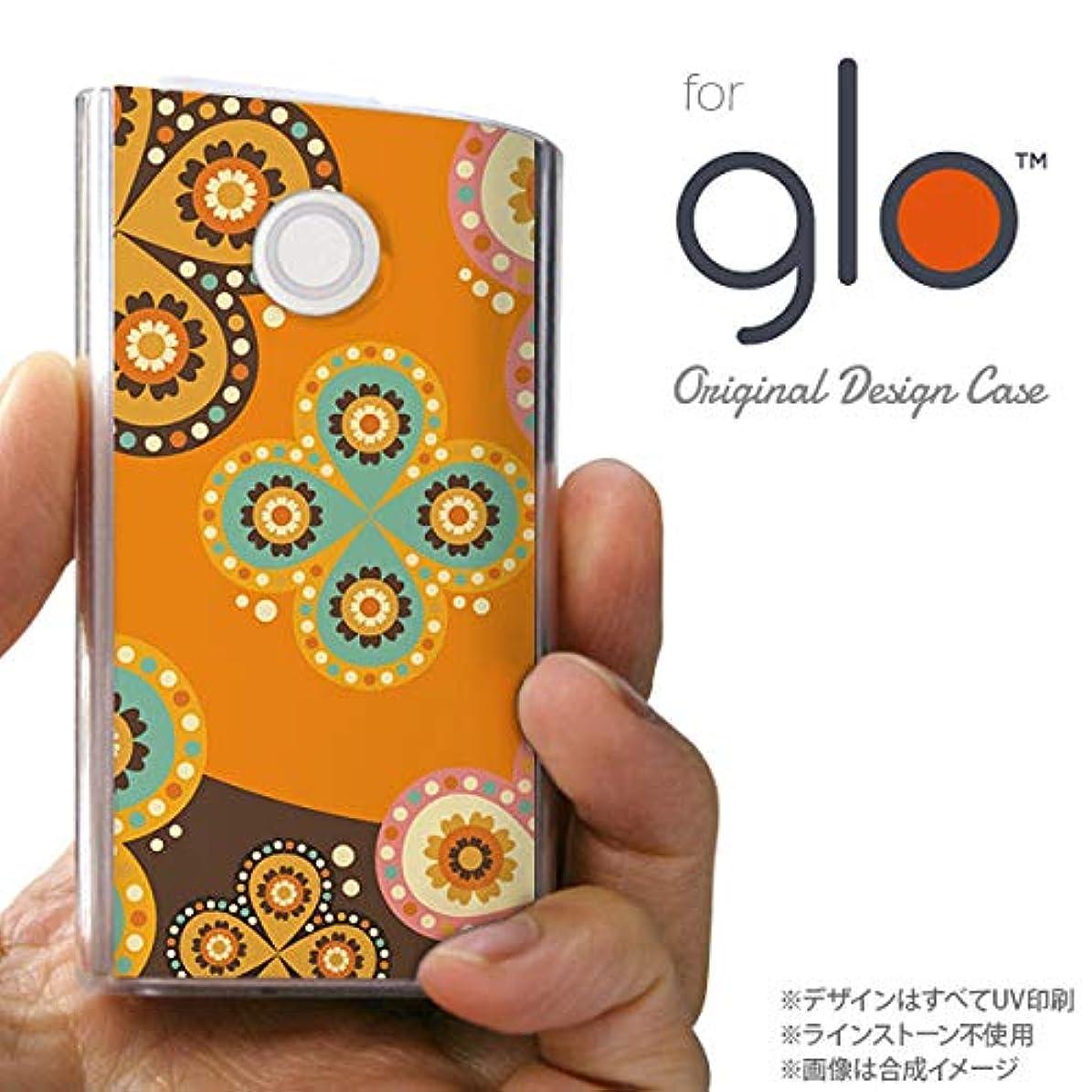 効率的に獲物罪悪感glo グローケース カバー グロー エスニック花柄 オレンジ×茶 nk-glo-1584