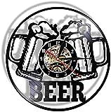 Disco de vinilo Reloj de pared Lámpara de noche colgante 7 colores Cuarzo Cerveza silenciosa Película moderna Cuarzo...