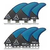 Naked Viking Surf Large GL Thruster Surfboard Fins (Set of 3) Blue Carbon Fiber, Futures Base