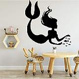 Pegatinas de pared de sirena accesorios de decoración del hogar calcomanías de vinilo para pared pegatinas de pared para habitación de niños colores personalizables 58cm X 58cm