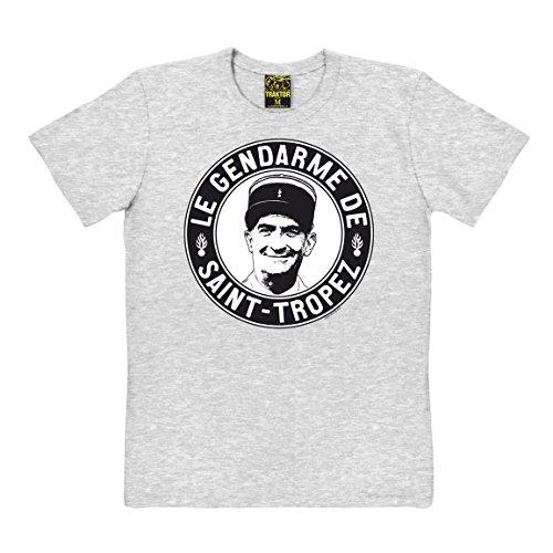 TRAKTOR Louis de Funes T-Shirt - Le Gendarme de Saint-Tropez - grau-meliert - Original Marke, Größe XS