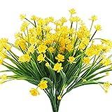 Eight Space Narcisos Artificiales Flores Falsas, 4 Paquetes de Plantas de follaje de Plantas de follaje de imitación de Color Verde Amarillo Resistente a los Rayos UV arbustos para jardín (Amarillo)