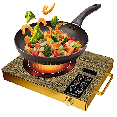 Electric Single Burner, 3500W Portable Ceramic Infrared Cooker Countertop Burner, Hot Plate with Timer Temperature Control, Smart Touch Sensor Electric Stove Glass Plate Cooktop