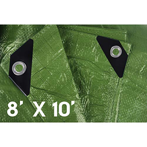 Hanjet 8 x 10 5 Mil Thick Camping Tarp Shelter Waterproof Tarps for Boat Pool with Grommets Army Green