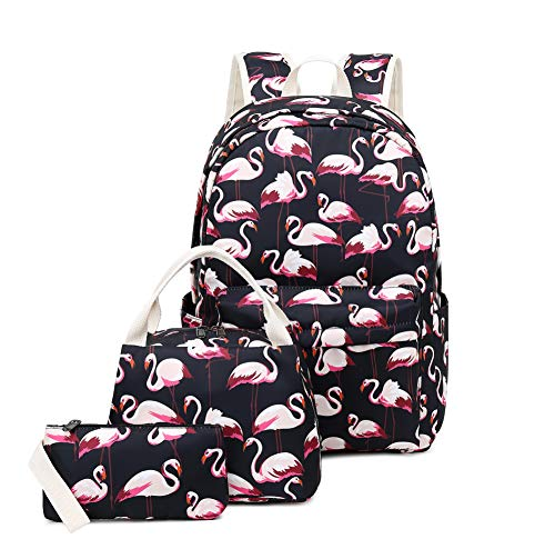 Joymoze Lightweight Cute School Bag with Lunch Tote Bag and Pencil Purse School Bookbag Set Black Flamingo