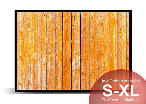 Gelbe Holzlatten - Schmutzmatte Bodenvorleger Fußmatte Türmatte Abtreter Abstreifer gummierter Rand Rutschfest waschbar individuell, Mattengröße:85 cm x 60 cm