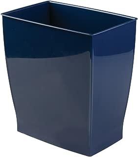iDesign Spa Rectangular Trash, Waste Basket Garbage Can for Bathroom, Bedroom, Home Office, Dorm, College, 2.5 Gallon, Navy
