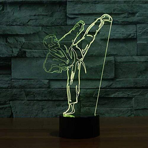 3D Karate Optische Illusions-Lampen, Tolle 7 Farbwechsel Acryl berühren Tabelle Schreibtisch-Nachtlicht mit USB-Kabel für Kinder Schlafzimmer Geburtstagsgeschenke Geschenk