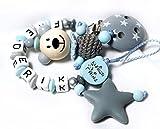 Schnullerkette Junge Blau-Grau 3D TEDDY Bär mit Wunschname Schnullerkette mit NAMEN Geschenk sililkonbeißstern