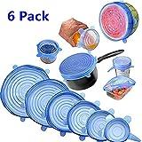 Nifogo Tapas de Silicona elásticas, Tapadera Flexible Extensible, Reutilizable para Proteger los Alimentos, Ajustables para Diferentes tamaños y Formas de recipientes - 6PCS (Azul)