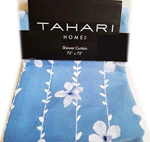 "Tahari Fabric Shower Curtain Boho Tie Dye Hippie Ombre Pattern in Shades of Blue on White 72"" x 72"" (Ombre Vines)"
