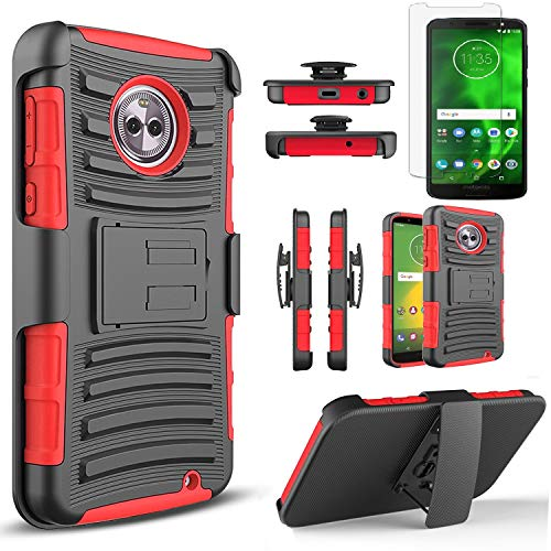 Circlemalls Compatible for Motorola Moto G6 Phone Case, [Not Fit Moto G6 Play/G6 Plus] with [Tempered Glass Screen Protector Included], Armor Heavy Duty Kickstand Cover with Belt Clip Holster - Red