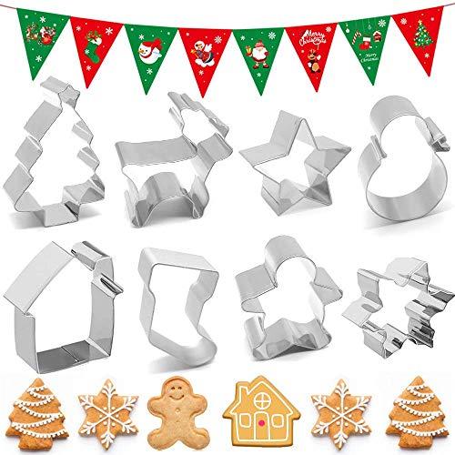 Caiery 9PCS Formine per Biscotti Natale, 3D Formine Biscotti in Acciaio Inox, Formine per Pasticcini - Casa, Albero di Natale, Alce, Pupazzo di Neve, Babbo Natale,Stelle, Fiocchi di Neve, Calzini