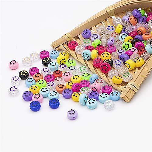 200 cuentas de color con forma de cara sonriente, con hilo elástico transparente, utilizadas para pulseras, collares, fabricación de joyas