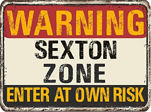 "Sexton Warning You are Entering Zone Rustic Vintage Look 6"" Wide Decal Bumper Sticker for use on Any Smooth Surface"