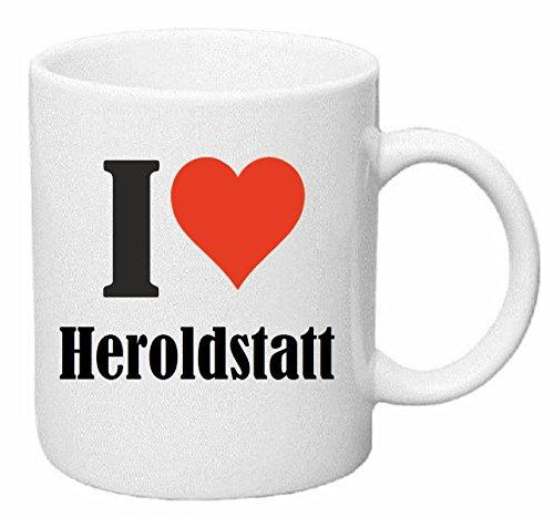 Kaffeetasse I Love Heroldstatt Keramik Höhe 9,5cm ⌀ 8cm in Weiß