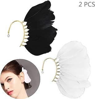 Big Feather Ear Cuff Non Piercing Earring Wrap Single Ear Cuffs Charm for Women - 2PCS - Black and White