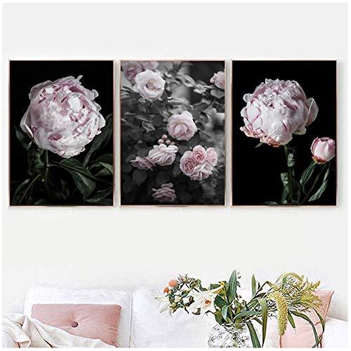 NIEMENGZHEN Druck auf Leinwand Romantisch Modern Rosa Rose Pfingstrose Blumen Leinwandbilder Poster Drucke -50x70cm Ohne Rahmen