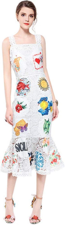 ZENWEN New Women's Summer Sleeveless Vest Long Lace Dress Sling Fishtail Skirt