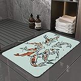 La Alfombra de baño es Suave y cómoda, Absorbente, Antideslizante,Dibujo Carpas Japón Dibujado Koi Chino Animales Naturaleza Asia Peces Fauna Silvestre,Apto para baño, Cocina, Dormitorio (40x60 cm)