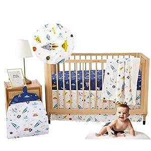 Brandream Crib Bedding Sets for Boys Outer Space Galaxy Astronaut Nursery Bedding with Diaper Stacker 4 Piece Rocket& Planet Boys Bedding, 100% Cotton