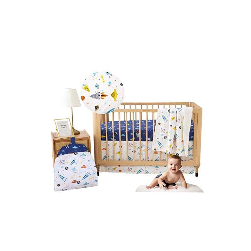 crib bedding and baby bedding brandream crib bedding sets for boys outer space galaxy astronaut nursery bedding with diaper stacker 4 piece rocket& planet boys bedding, 100% cotton