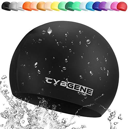 CybGene Silikon Badekappe für Kinder, Kind Schwimmkappe Bademütze für Kinder Schwimmunterricht-Schwarz