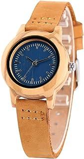 CAIDAI&YL Reloj para Mujer Reloj dePulsera de Cuero Elegante y Simple Esfera Redonda Elegante Relojes de Madera paraMu...