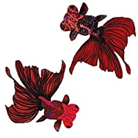 1セット大魚刺繍パッチビーズスパンコール装飾縫製服バッグアップリケDIYアクセサリーバッジTH1461 (D 2枚)