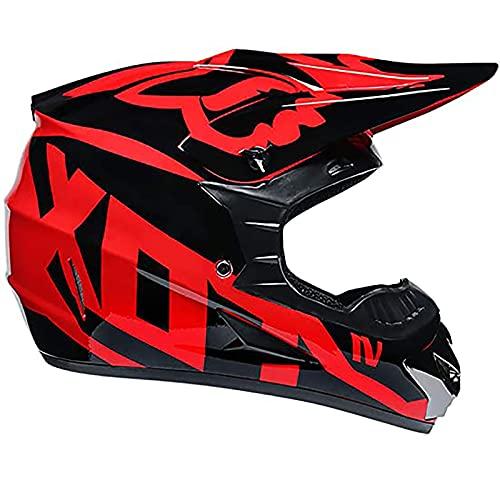 F&FSH Casco De Motocross con Gafas + Máscara + Guantes Casco De Adulto De Cara Completa Negro Y Rojo para Todas Las Estaciones