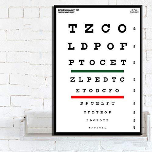 QINGRENJIE Modern Eye Test Snellen Chart Poster Decoración del hogar Arte Pintura Lienzo Poster Wall Home Decor 50X70 Cm Sin Marco